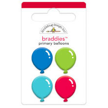 Doodlebug Design - Birthday Celebration Collection - Brads - Primary Balloons Braddies