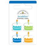 Doodlebug Design - Birthday Celebration Collection - Brads - Birthday Cakes Braddies