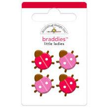 Doodlebug Design - Ladybug Garden Collection - Brads - Little Ladies Braddies