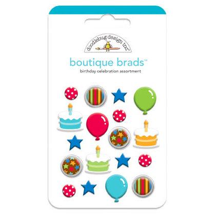Doodlebug Design - Birthday Celebration Collection - Boutique Brads - Assorted Brads - Birthday Celebration