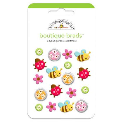 Doodlebug Design - Ladybug Garden Collection - Boutique Brads - Assorted Brads - Ladybug Garden