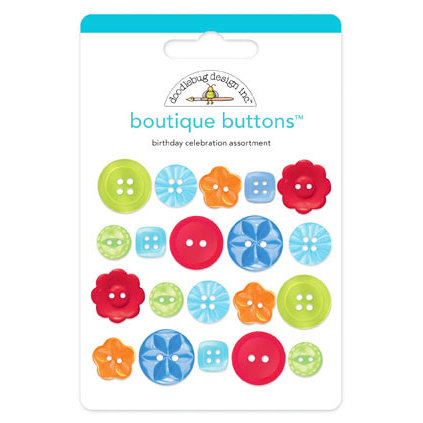Doodlebug Design - Birthday Celebration Collection - Boutique Buttons - Assorted Buttons - Birthday Celebration