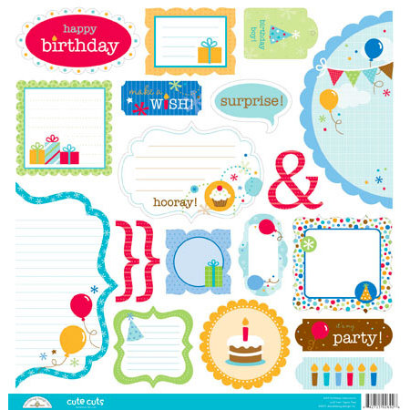 Doodlebug Design - Birthday Celebration Collection - Cute Cuts - 12 x 12 Cardstock Die Cuts