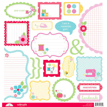 Doodlebug Design - Nifty Notions Collection - Cute Cuts - 12 x 12 Cardstock Die Cuts