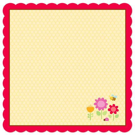 Doodlebug Design - Ladybug Garden Collection - 12 x 12 Die Cut Paper - Ladybug Garden Doodle, BRAND NEW
