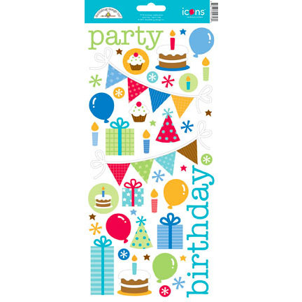 Doodlebug Design - Birthday Celebration Collection - Cardstock Stickers - Icons