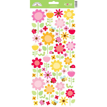 Doodlebug Design - Ladybug Garden Collection - Sugar Coated Cardstock Stickers - Icons