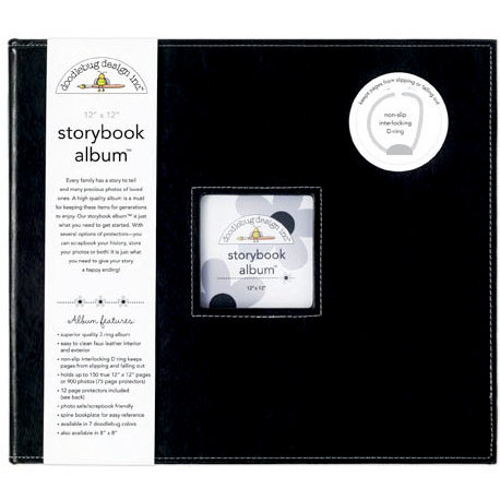 Doodlebug Design - 12 x 12 Storybook Album - Beetle Black