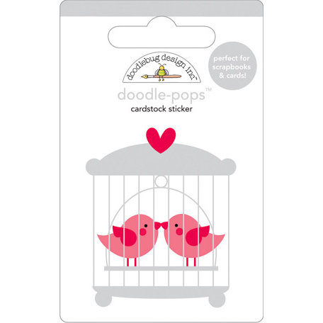 Doodlebug Design - Doodle-Pops - 3 Dimensional Cardstock Stickers - Love Birds