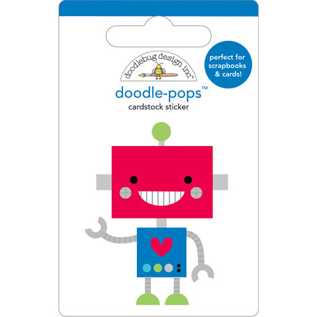 Doodlebug Design - Doodle-Pops - 3 Dimensional Cardstock Stickers - Little Bot