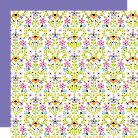 Doodlebug Design - Colorwheel Collection - 12 x 12 Double Sided Paper - Fancy Florals