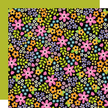 Doodlebug Design - Colorwheel Collection - 12 x 12 Double Sided Paper - Evening Garden