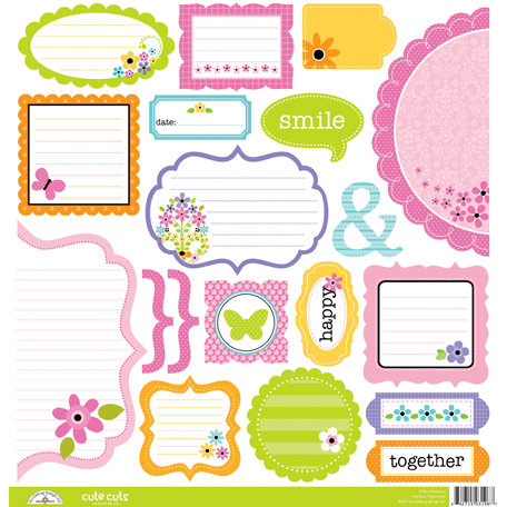 Doodlebug Design - Colorwheel Collection - Cute Cuts - 12 x 12 Cardstock Die Cuts