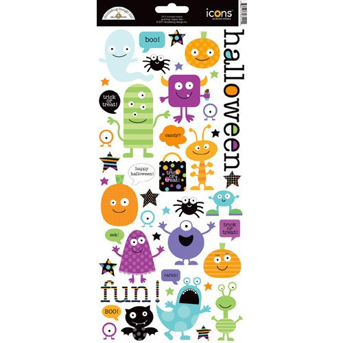 Doodlebug Design - Monster Mania Collection - Halloween - Sugar Coated Cardstock Stickers - Icons