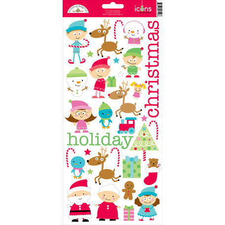 Doodlebug Design - Santa's Workshop Collection - Christmas - Sugar Coated Cardstock Stickers - Icons