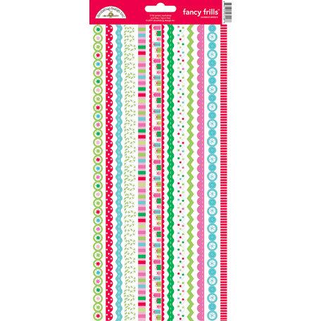 Doodlebug Design - Santa's Workshop Collection - Christmas - Sugar Coated Cardstock Stickers - Fancy Frills