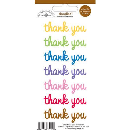 Doodlebug Design - Doodles - Cardstock Stickers - Thank You - Multicolor
