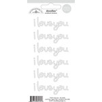 Doodlebug Design - Doodles - Cardstock Stickers - I Love You - Lily White