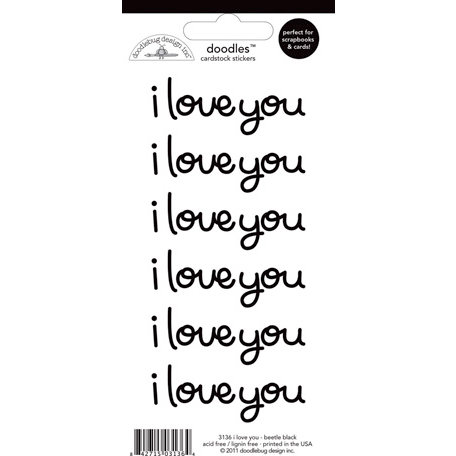 Doodlebug Design - Doodles - Cardstock Stickers - I Love You - Beetle Black