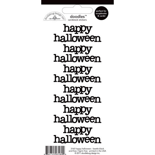 Doodlebug Design - Doodles - Cardstock Stickers - Happy Halloween - Beetle Black