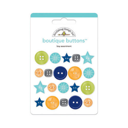 Doodlebug Design - Boys Only Collection - Boutique Buttons - Assorted Buttons - Boy
