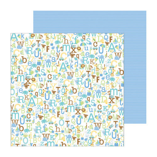 Doodlebug Design - Snips and Snails Collection - 12 x 12 Double Sided Paper - Alphababies Boy