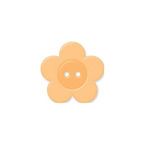Doodlebug Design - Oodles - Buttons - Flower - 19 mm - Apricot