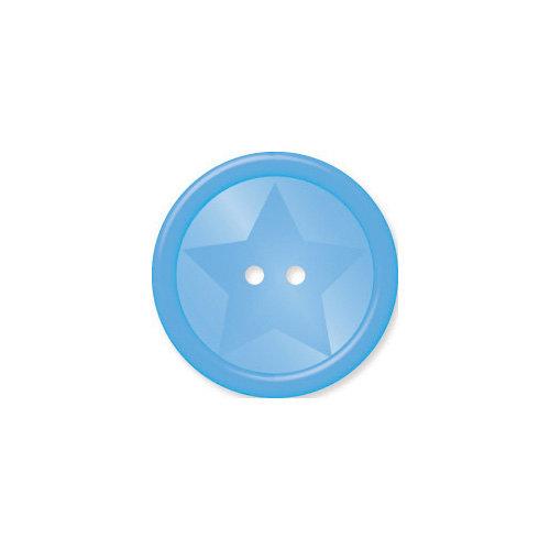 Doodlebug Design - Oodles - Buttons - Round Star - 19 mm - Blue Bell