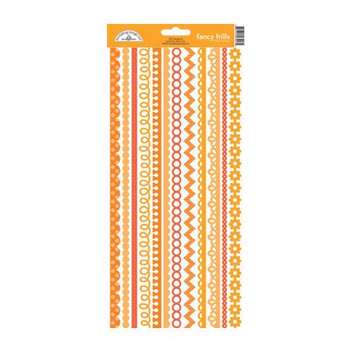 Doodlebug Design - Cardstock Stickers - Fancy Frills - Tangerine