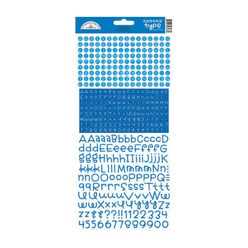 Doodlebug Design - Alphabet Cardstock Stickers - Teensy Type - Blue Jean
