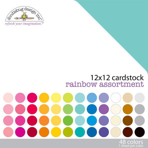 Doodlebug Design - 12 x 12 Texture Cardstock Assortment - Rainbow