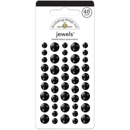 Doodlebug Design - Jewels Adhesive Rhinestones - Beetle Black Assortment