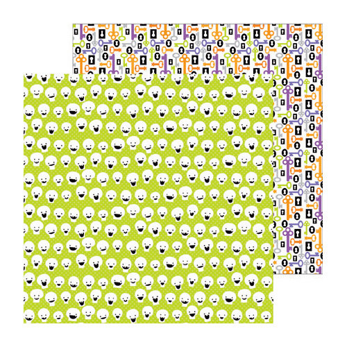Doodlebug Design - Haunted Manor Collection - Halloween - 12 x 12 Double Sided Paper - Funny Bones