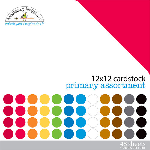 Doodlebug Design - 12 x 12 Texture Cardstock Assortment - Primary