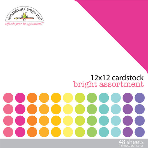 Doodlebug Design - 12 x 12 Texture Cardstock Assortment - Bright