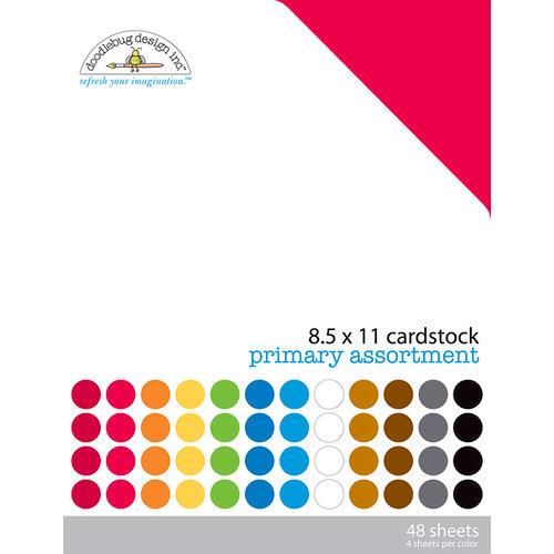 Doodlebug Design - 8.5 x 11 Texture Cardstock Assortment - Primary