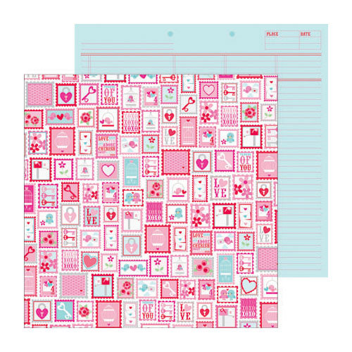 Doodlebug Design - Lovebirds Collection - 12 x 12 Double Sided paper - S.W.A.K