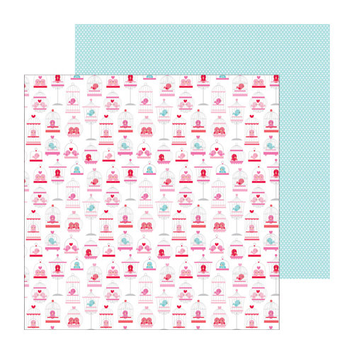 Doodlebug Design - Lovebirds Collection - 12 x 12 Double Sided paper - Tweetie Pie