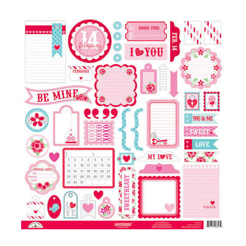 Doodlebug Design - Lovebirds Collection - 12 x 12 Cardstock Stickers - This and That