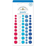 Doodlebug Design - Yankee Doodle Collection - Jewels - Adhesive Rhinestones - Red, White and Blue