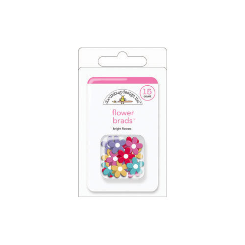 Doodlebug Design - Fruit Stand Collection - Brads - Bright Flowers