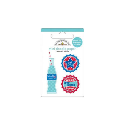 Doodlebug Design - Stars and Stripes Collection - Doodle-Pops - 3 Dimensional Cardstock Stickers - Mini - Soda Pop