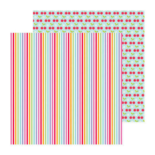 Doodlebug Design - Fruit Stand Collection - 12 x 12 Double Sided Paper - Summer Stripes