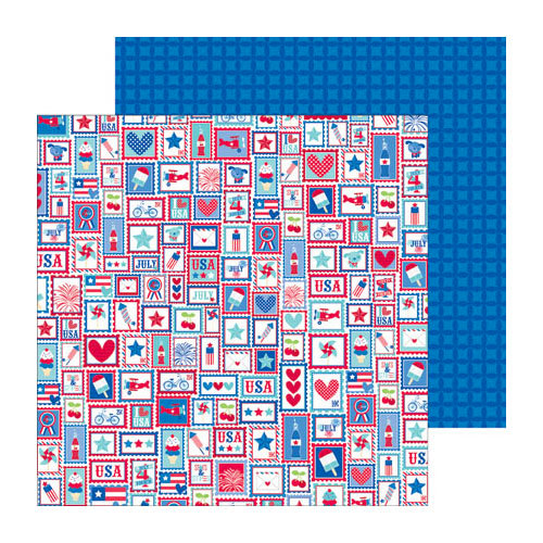 Doodlebug Design - Stars and Stripes Collection - 12 x 12 Double Sided Paper - US Postage