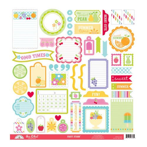 Doodlebug Design - Fruit Stand Collection - 12 x 12 Cardstock Stickers - This and That