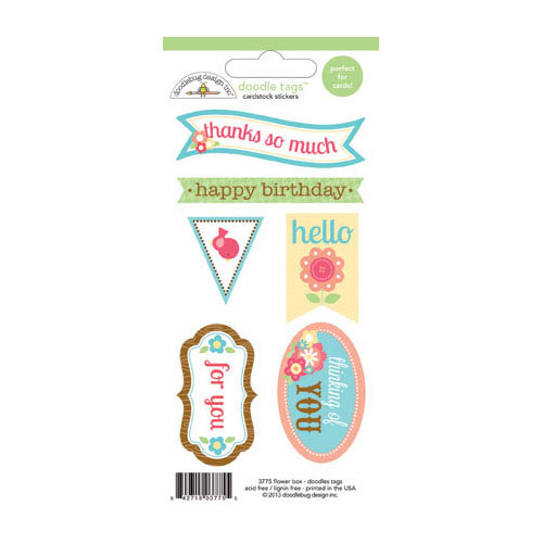 Doodlebug Design - Flower Box Collection - Cardstock Stickers - Tags