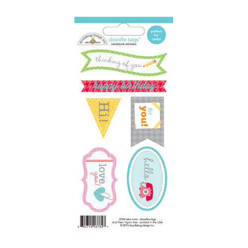 Doodlebug Design - Take Note Collection - Cardstock Stickers - Tags