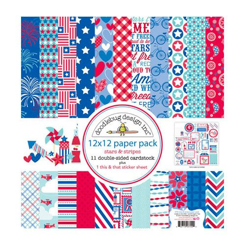 Doodlebug Design - Stars and Stripes Collection - 12 x 12 Paper Pack