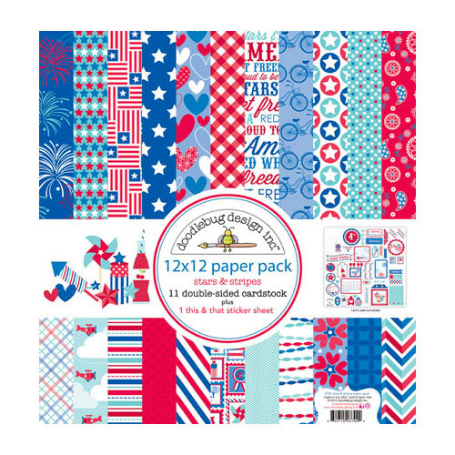 Doodlebug Design - Stars and Stripes Collection - 12 x 12 Paper Pack