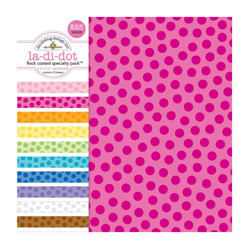 Doodlebug Design - 12 x 12 Crushed Velvet Cardstock Assortment - Spot Flocked - La Di Dot